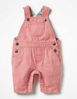 Crab Apple Pink/Ivory Ticking Stripe Dungarees