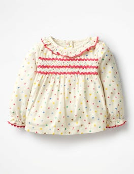 Multi Painted Spots Ruffly Woven Top