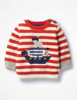 Crayon Red/Ecru Pirate Ship Ahoy Matey Jumper