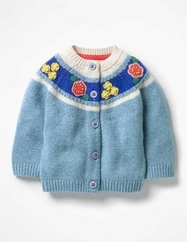 Penzance Blue Flowers Crochet Flower Cardigan