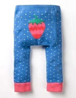 Lake Blue Pin Spot Knitted Leggings