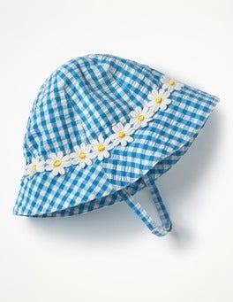 Lake Blue Gingham Pretty Woven Hat