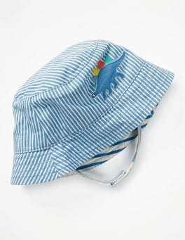 Skipper Blue Ticking Stripe Woven Appliqué Hat