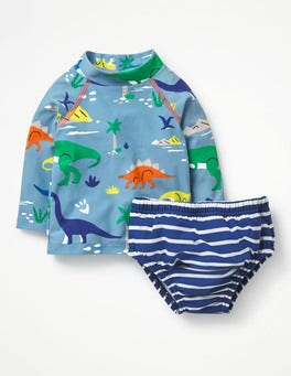 Grotto Blue Baby Dino Rash Guard Two Piece Set