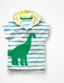 Ivory/Grotto Blue Dinosaur Animal Towelling Throw-on