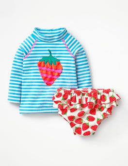 Candy Blue/Ivory Strawberry Rash Guard Two Piece Set