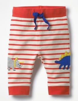 Ivory/Crayon Red Dinosaurs Fun Jersey Pants