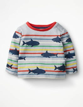 Grey Marl/Multi Sharks Fun Breton T-shirt
