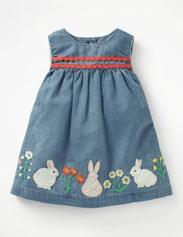 Chambray Flowers Woven Appliqué Dress