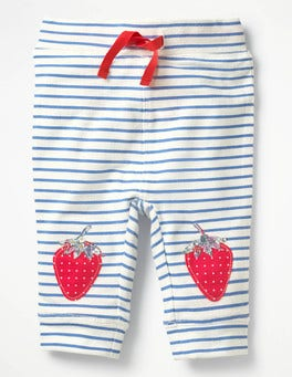 Ivory/Lake Blue Strawberries Fun Knee Leggings