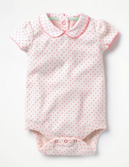 Ivory/Paradise Pink Pin Spot Detailed Collared Body