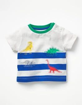 Ivory/Skipper Blue Dinosaurs Reverse Appliqué T-shirt