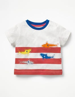 Ivory/Crayon Red Sharks Reverse Appliqué T-shirt