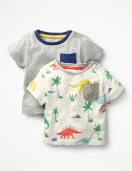 Multi Baby Dino/Grey Marl Twin Pack Colourful T-shirts