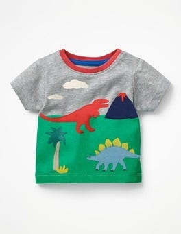 Grey Marl Dinosaur Scene Animal Explorer T-shirt
