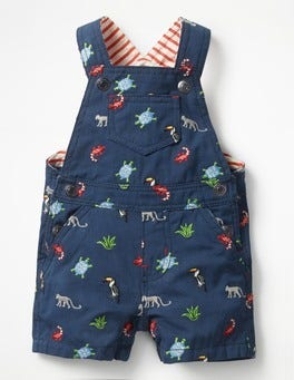Beacon Blue Jungle Embroidery Fun Woven Dungarees