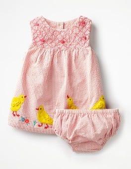 Crab Apple Pink Ducklings Appliqué Smock Dress