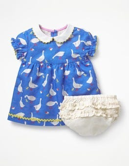 Penzance Blue Spring Geese Peter Pan Collar Dress
