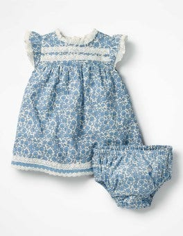 Lake Blue Floral Toile Pretty Frill Dress