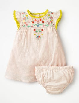 Mist Pink Embroidery Pretty Frill Dress