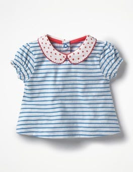 Ivory/Lake Blue Sweet Collared T-shirt