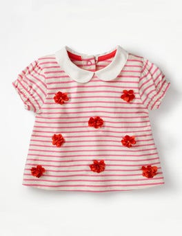 Ivory/Rosebud Pink Flowers Sweet Collared T-shirt