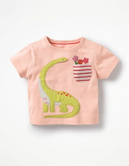 Provence Dusty Pink Dinosaur Appliqué Pocket T-shirt