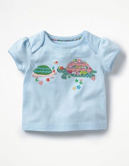 Summer Skies Blue Turtles Big Appliqué T-shirt