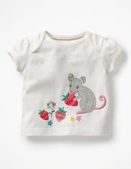 Ivory Mouse Big Appliqué T-shirt