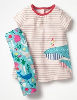 Ivory/Provence Pink Whale Appliqué Jersey Dress Set