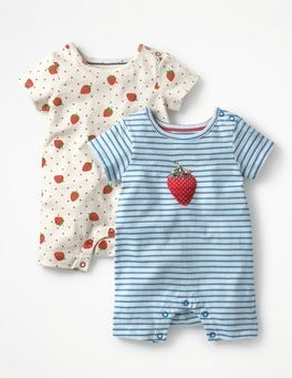 Rosehip Red Strawberry Spot Twin Pack Strawberry Rompers