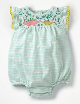 Azure Mist Blue/Ivory Floral Pretty Embroidered Romper