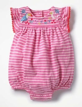 Light Rose Pink/Ecru Birds Pretty Embroidered Romper