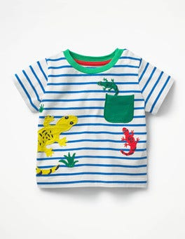 Ivory/Skipper Blue Geckos Pocket Friends T-shirt