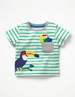 Ivory/Astro Green Toucans Pocket Friends T-shirt