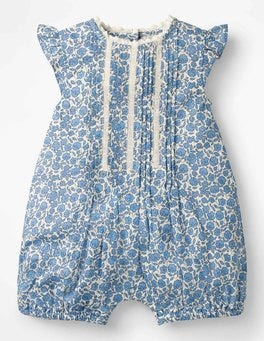 Lake Blue Floral Toile Pretty Woven Romper