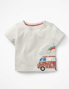 Ivory Camper Van Seaside Appliqué T-shirt