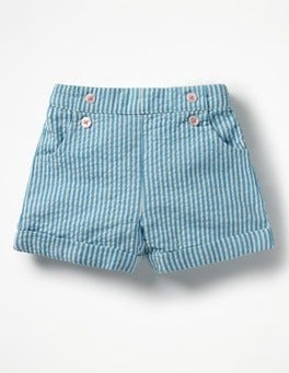 Fluoro Blue/Ivory Ticking Bright Turn-up Shorts