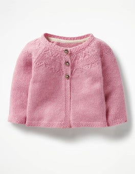 Cherry Cream Pink Pointelle Cashmere Cardigan