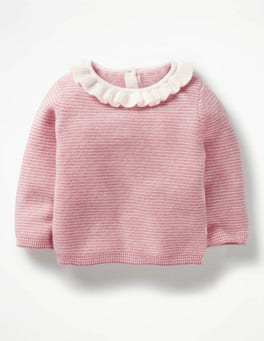 Cherry Cream Pink/Ecru Frilly Cashmere Jumper