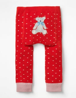 Polish Red Pin Spot Knitted Leggings