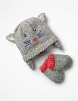 Grey Marl Cat Hat & Mitten Set