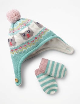 Aquamarine Green Knitted Hat & Mittens Set
