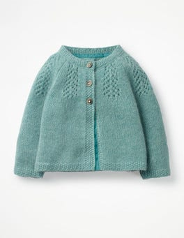 Aquamarine Green Pointelle Cashmere Cardigan