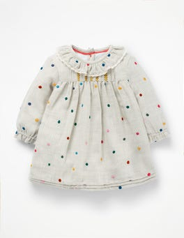 Multi Embroidered Spot Nostalgic Pleated Dress