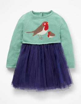 Aquamarine Green Robins Peculiar Pets Knitted Dress