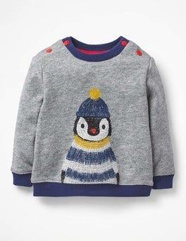 Grey Marl Penguin Cosy Textured Sweatshirt