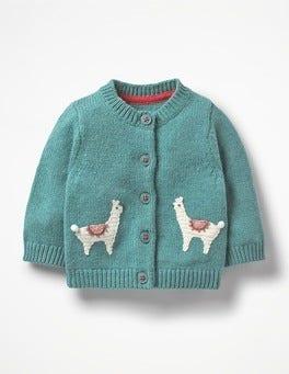 Aquamarine Green Llamas Characterful Crochet Cardigan