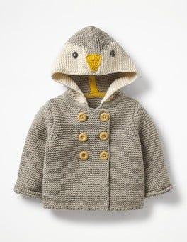 Grey Marl Penguin Novelty Knitted Jacket