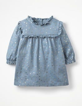 Boathouse Blue Twinkle Star Printed Jersey Dress
